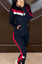 Dark Blue Casual Sportswear Polyester Patchwork Solid Split Joint Hooded Collar Long Sleeve Short Two Pieces