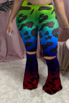 Turquoise Polyester Elastic Fly Mid Print Boot Cut Pants Bottoms