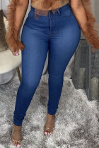 Dark Blue Fashion Casual Solid Ripped High Waist Skinny Jeans