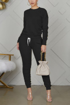 Black Polyester Casual Solid Straight Long Sleeve Two Pieces