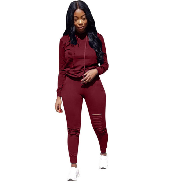 Wine Red Drawstring Mid Solid pencil Two-piece suit