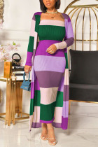 Purple Sexy Striped O Neck Long Sleeve Two Pieces