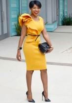 Yellow Sexy & Club O-Neck Sleeveless Straight Knee Length Club Dresses