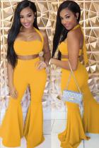 Yellow Polyester Sexy Fashion adult Bandage backless Solid Two Piece Suits Boot Cut Sleeveless Two-piece P