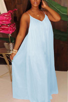 Light Blue Fashion Sexy Solid Chiffon Sleeveless V Neck Jumpsuits