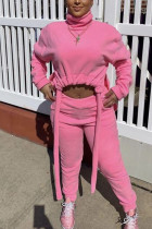 Pink Fashion Street Adult Polyester Solid Draw String Turtleneck Long Sleeve Regular Sleeve Short Two Pieces