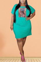 Sky Blue Polyester Fashion Sexy adult Ma'am O Neck Print Pattern Plus Size