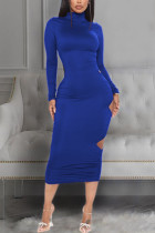 Blue Sexy Solid Hollowed Out Backless Fold O Neck Pencil Skirt Dresses