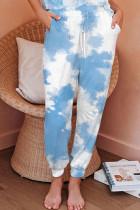 Sky Blue Black Pink Sky Blue Powder blue Polyester Elastic Fly Mid Print Harlan pants Pants Bottoms