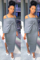 Grey Polyester Europe and America Two Piece Suits Patchwork Solid pencil Sleeveless Two-Piece Dress