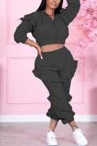 Black Sexy Solid Split Joint Zipper Collar Long Sleeve Two Pieces