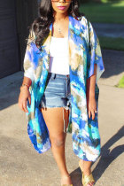Blue O Neck Patchwork Print Tie Dye Polyester Patchwork Short Sleeve Outerwear