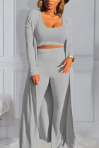 Light Gray Polyester Active Casual Europe and America O Neck Solid Plus Size
