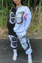 Black Casual Butterfly Print Split Joint O Neck Long Sleeve Two Pieces