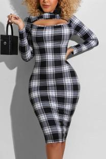 Black White Fashion Sexy Plaid Print Hollowed Out Half A Turtleneck Printed Dress