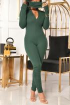 Ink Green Casual Solid Fold Zipper Turndown Collar Regular Jumpsuits