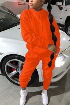 Orange Fashion Sportswear Adult Polyester Solid Split Joint Hooded Collar Plus Size Set