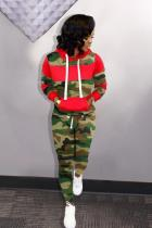 Red Polyester adult Casual Fashion Print Two Piece Suits Patchwork Camouflage Straight Long Sleeve
