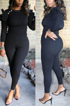 Black Fashion Casual Solid Flounce O Neck Long Sleeve Regular Sleeve Regular Two Pieces