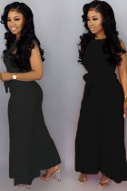 Black Fashion Sexy Solid bandage Patchwork Polyester Sleeveless O Neck Jumpsuits