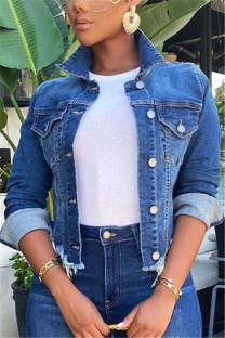 Deep Blue Fashion Casual Solid Cardigan Turndown Collar Long Sleeve Regular Denim Coats
