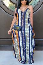 Hide Blue Polyester Fashion adult OL Hide Blue Spaghetti Strap Sleeveless V Neck A-Line Floor-Length Print Patchwork Dresses