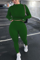 Dark green Fashion Casual Adult Polyester Solid Embroidered O Neck Long Sleeve Regular Sleeve Regular Two Pieces