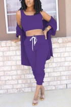 purple Polyester Active Solid pencil Long Sleeve Two Pieces