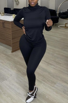Black Fashion Casual Solid Basic Turtleneck Long Sleeve Two Pieces