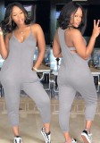 Khaki Polyester Pockets Backless Solid Casual Jumpsuits & Rompers