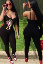 Black Fashion Sexy Print Cotton Sleeveless Slip Jumpsuits
