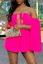 Rose Red Fashion Sexy Solid Hollowed Out Backless Off the Shoulder Regular Romper