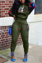 Army Green Fashion Casual Letter Print Split Joint O Neck Plus Size Set