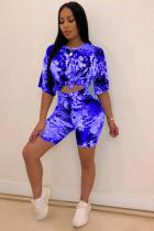 Blue Polyester Fashion Sexy Two Piece Suits Sequin Slim fit crop top Bandage Skinny Half Sleeve Two-Piec