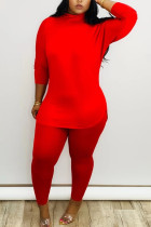 Red Fashion Daily Adult Milk Fiber Solid Split Joint O Neck Long Sleeve Regular Sleeve Regular Two Pieces