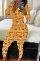 Orange Fashion Adult Living Print V Neck Skinny Jumpsuits