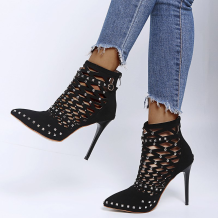 Black Casual Street Rivets Hollowed Out Pointed Out Door Shoes