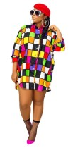 As Show Casual Stand Regular Full Plaid Print Long Blouses & Shirts
