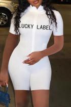 White Fashion Casual Letter Embroidered Zipper Collar Skinny Romper