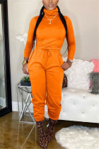Orange Polyester Casual Fashion Bandage Solid Two Pieces