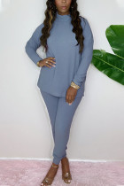 Sky Blue Fashion Casual Adult Cotton Solid Split Joint O Neck Long Sleeve Regular Sleeve Regular Two Pieces