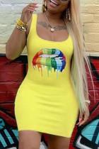 Yellow Polyester Sexy Fashion Spaghetti Strap Sleeveless Slip Hip skirt Mini Fluorescent Print Solid Casua