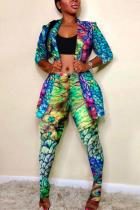 Green Polyester Fashion adult Sexy Leopard Print Two Piece Suits Slim fit Patchwork Camouflage pencil Long
