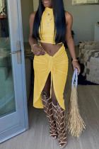 Yellow Sexy Casual Solid Slit Turtleneck Sleeveless Two Pieces