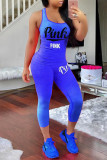 Blue Fashion Sportswear Letter Print Basic O Neck Sleeveless Two Pieces