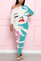 Blue Fashion Casual Polyester Print Lips Printed Basic O Neck Nine Points Sleeve One Shoulder Long Two Pieces