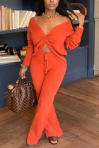 Tangerine Red Sexy Solid Split Joint V Neck Long Sleeve Two Pieces