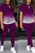 Purple Casual Gradual Change Split Joint O Neck Short Sleeve Two Pieces