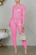 Pink Casual Letter Embroidery Basic O Neck Long Sleeve Two Pieces