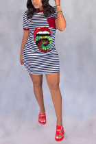 Wine Red Polyester Fashion Casual adult Red Pink Wine Red purple Cap Sleeve Short Sleeves O neck A-Line Mini Striped Print Patchwork Tie and dye Tongue Dresses
